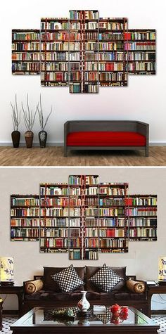 How to decorate your bathroom,living rooms,stair,offices,hotels.Bookshelf Print Wall Art Canvas Paintings