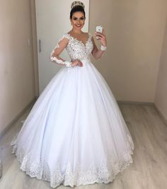 Ball Gown Illusion Sleeves White Wedding Dress With Lace Appliques, This dress could be custom made, there are no extra cost to do custom size and color Cathedral Wedding Dress, V Neck Wedding Dress, Elegant Wedding Dress, White Wedding Dresses, Elegant Dresses, Bridal Dresses, Beautiful Dresses, Illusion Dress, Custom Dresses