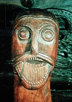 Detail of an ornamental head, from a sledge in the Oseburg burial (wood) Viking 9th cent.Scandinavian Viking Ship Museum,Oslo