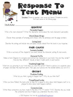 """""""Response to Text"""" MENU from 3rd Grade Thoughts: Helpful Parts of Our Schedule & Star Homework Update. Cute idea for independent work or homework!! :)"""