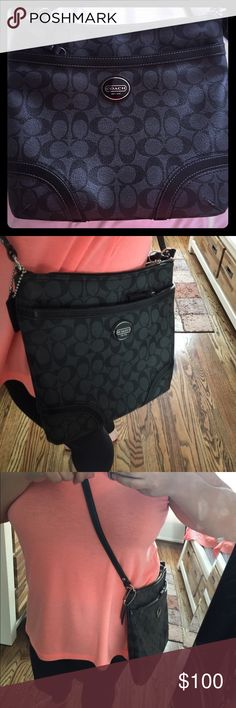 Coach satchel/crossbody! Worn once! Black/grey leather. Great size, no rips, scuffs or holes. Authentic! Coach Bags Satchels