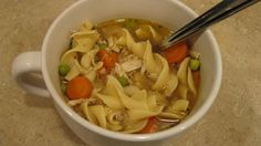 Slow Cooker Chicken Noodle Soup.  change to 3-4 boneless skinless chicken breast and low sodium broth instead of water.  gluten free noodles precooked and added to individual bowls.