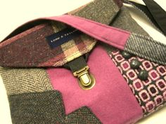 Crossbody Purse iPhone pocket, Recycled mens suit coat , pink, gray plaid wool, Eco Friendly via Etsy