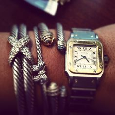 Cartier watch and David Yurman bracelets ♥ I have the Santos watch but never thought about pairing it with DY bracelets! John Hardy, David Yurman, Jewelry Box, Jewelry Accessories, Bullet Jewelry, Jewelry Storage, Jewelry Trends, Jewelry Necklaces, Bijou Box