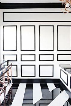 Black & white glam, striped floors, rose gold stools. So fab!!