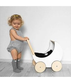 Their Size Wooden Doll Pram Hipster Baby Clothes, Dolls Prams, Eco Friendly Toys, Baby Swings, Kids Wood, Modern Kids, Toddler Fun, Wooden Dolls, Wood Toys