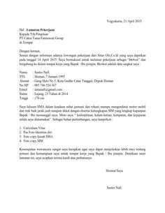Contoh Surat Lamaran Kerja Tanpa Mengetahui Nama Perusahaan Enam