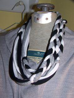 Jersey Black Gray and White Braided Skinny by sugarplumcottage, $16.00