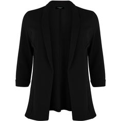 Plus Size Black 3/4 Sleeve Blazer ($31) ❤ liked on Polyvore featuring outerwear, jackets, blazers, black, blazer, plus size, black blazer, 3/4 sleeve jacket, collar jacket and 3/4 sleeve blazer