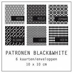 Kaarten 6 stuks | PATRONEN BLACK&WHITE | PAPIER / KAARTEN | Dots Lifestyle