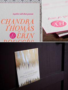 2012 Bella Figura Letterpress Collection with Metallics + Neon! | Green Wedding Shoes Wedding Blog | Wedding Trends for Stylish + Creative Brides