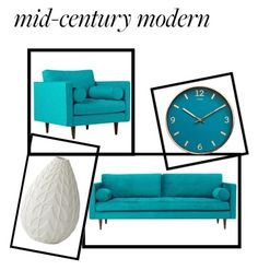 """Mid Century Modern"" by dandelion-bloom ❤ liked on Polyvore featuring interior, interiors, interior design, home, home decor, interior decorating, Joybird and modern"