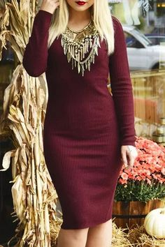 V-Neck Wine Red Sweater Dress