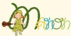 Cross Stitch, Fictional Characters, Alphabet, Toile, Punto De Cruz, Seed Stitch, Punto Croce, Cross Stitches, Fantasy Characters