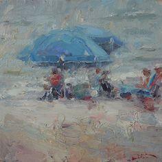 Blue Umbrellas by Dan Beck Oil ~ 12 x 12