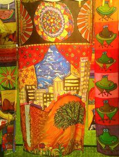 3 bandôs em seda pintada por Marlene Wolfensberger (Ateliê Lilimarlene)