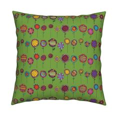 Catalan Throw Pillow featuring BLOOMING  FLOWERS HAPPY AND NAIVE GREENERY PANTONE 2017 by paysmage | Roostery Home Decor