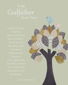 "Godfather gift Personalized gift. Cute print to frame as a ""thank you"" card"