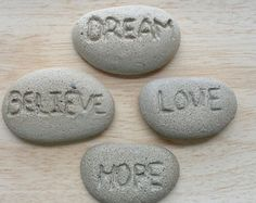 Love Hope Dream Believe concrete inspirational rocks - Fairy garden accessories - Fairy garden miniatures - Garden decor - Garden ornaments