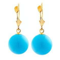 12mm Sleeping Beauty Turquoise Ball Drop Leverback Earrings 14K Gold - Trustmark Jewelers