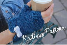 Fingerless Mittens with Bow KNITTING PATTERN