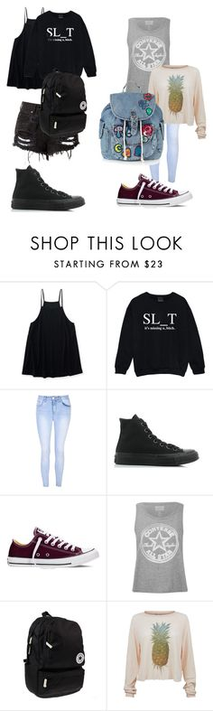 """""""Untitled #83"""" by jaydababez ❤ liked on Polyvore featuring Aéropostale, Kale, Glamorous, Converse, Wildfox and Topshop"""