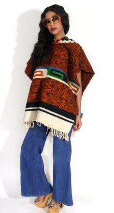 Vintage 60 s Sud-Ouest laine mexicain Poncho par OldSoulsVintageCo
