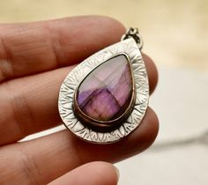 Purple Labradorite Pendant Necklace Hand by EONDesignJewelry