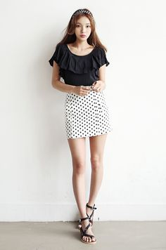 Polka dot high waist mini skirt