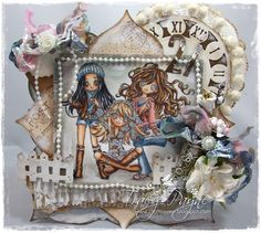 Card created by LLC DT Member Tracy Payne, using an mix of papers from Maja & Pion Design. The images are from Make it Crafty.