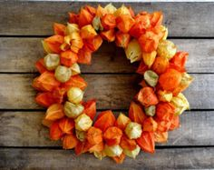 Dried Orange Chinese Lantern Wreath - Fall Decoration - Physalis Wreath - Hanging Wreath