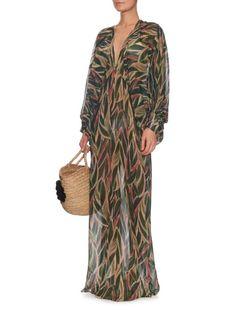 Adriana Degreas Araruta palm-print silk maxi dress