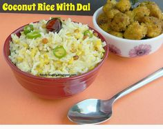 Thengai Sadham / Coconut rice with moong dal