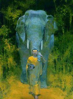 Buddha and elephant Lotus Buddha, Art Buddha, Buddha Painting, Gautama Buddha, Buddha Buddhism, Buddha Temple, Pintura Zen, Buddhist Wisdom, Art Asiatique
