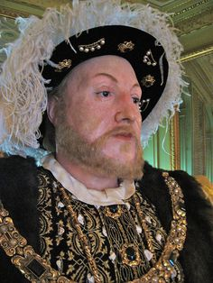 A detail of a waxwork statue of Henry VIII at Warwick Castle.