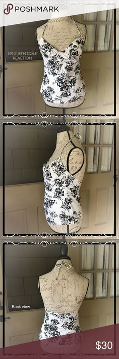 Kenneth Cole Reaction Tankini Halter Top Off White and Black Floral Print Kenneth Cole Reaction Tankini Halter Top. Size L Kenneth Cole Reaction Swim