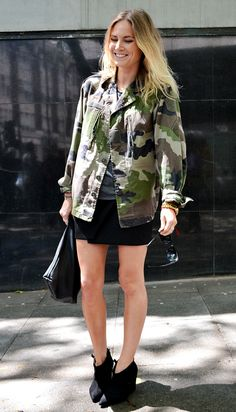 Camo print jacket with mini skirt