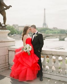 This elegant European wedding was complete with gilded décor, a red wedding dress, and nods to French history. White Wedding Bouquets, Colored Wedding Dresses, Wedding Colors, Wedding Styles, Wedding Ideas, Wedding Photos, Bridal Gowns, Wedding Gowns, European Wedding