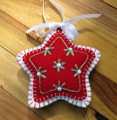 Wool Felt Embroidered Red Star Ornament Hanger by FHGoldDesigns