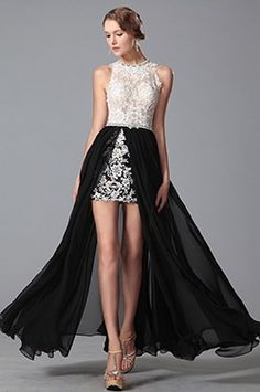 Stunning Round Neck High Low Lace Gown Evening Dress (00151100) - USD 183.06