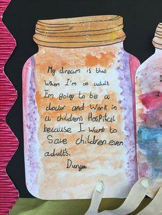 BFG Dream Jar display Bfg Display, Literacy Display, Teaching Displays, School Displays, Classroom Displays, Bfg Activities, Roald Dahl Activities, Library Activities, Ks2 Classroom