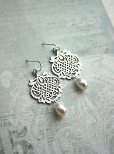 White Silver Plated Lace Filigree Earrings Filigree by Marolsha
