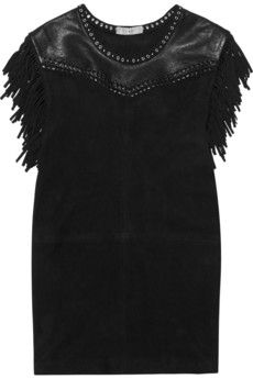 IRO Zeny fringed leather and suede mini dress | NET-A-PORTER