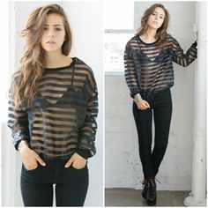 Mesh Striped Reckless Long Sleeve Top from Social Butterfly House #mesh #stripes #longsleeves