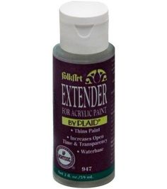 Mix Extender with Folk Art acrylic colors to increase drying time and transparency, when floating blending and washing colors. Also used as fabric painting medium. Non-toxic and waterbased.