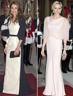 Rania de Jordania y la princesa Charlene de Mónaco, en la cena por el Jubileo de Isabel II #royalty #royals