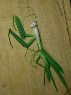 Food Art: snow peas and green onion praying mantis Veggie Art, Fruit And Vegetable Carving, Cute Food, Good Food, Funny Food, Kreative Snacks, Vegetable Animals, Fruits Decoration, Amazing Food Art