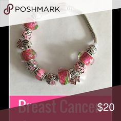 Beautiful breast cancer bracelet Beautiful breast cancer awareness bracelet with Pandora style beads. Great gift to show support or give to a cancer warrior! Jewelry Bracelets