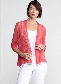 Angle Front peony colored raglan sleeve cardigan in variegated linen silk; barely there is a bold way; textural stripes lend this ultralight kint visible presence