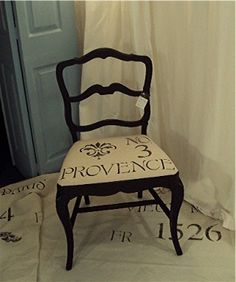 Vintage Paris Shabby Cottage  Country French Black Feedsack Style  Chair